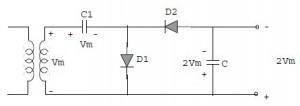 pelipat tegangan 2 kali,pelipat tegangan dengan dioda,pelipat tegangan setengah gelombang,rangkaian pelipat tegangan,voltage multiplier,pengali tegangan,teori pelipat tegangan,teori voltage multiplier,definisi pelipat tegangan,rangkaian dasar pengali tegangan,pengali tegangan dioda,komponen pengali tegangan,membuat pengali tegangan