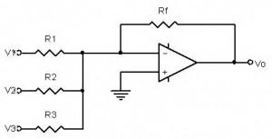 penguat penjumlah inverting,inverting adder dengan Op-amp,penjumlah inverting dengan op-amp,rangkaian penjumlah inverting dengan op-amp,rangkaian penjumlah membalik,inverting adder circuit,penjumlah sinyal inverting,