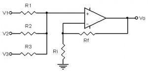 Penguat Penjumlah Non Inverting,penjumlah sinyal non inverting,penjumlah non-inverting,rangkaian penjumlah non-inverting,penjulah dengan op-amp non inverting,non-inverting adder,rangkaian adder non-inverting