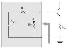 Rangkaian Ekuivalen Self Bias Transistor,ekuivalen bias pembagi tegangan,rangkaian analisa self bias,rangkaian analisa dc self bias transistor