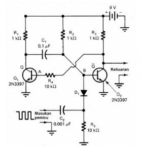 Rangkaian Monostable Multivibrator,monostabil multivibrator,definisi monostable multivibrator,teori multivibrator monostable,prinsip kerja multivibrator monostabil,konsep multivibrator monostabil,monostable multivibrator transistor,arus pengisian multivibrator,one-shoot multivibrator,rangkaian one-shoot multivibrator,dasar one-shoot multivibrator,teori one-shoot multivibrator