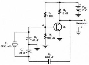 oscilator pierce,rangkaian oscilator pierce,skema oscilator pierce,oscilator pierce kristal,rangkaian tangki oscilator pierce,dasar oscilator pierce,prinsip kerja oscilator pierce,tank circuit oscilator pierce,resonansi paralel pierce,resonansi paralel kristal,bias oscilator pierce