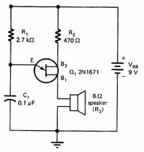 Rangkaian Oscilator Relaksasi Dengan UJT,contoh oscilator relaksasi,rangkaian oscilator relaksasi,oscilator relaksisi UJT,oscilator dengan UJT