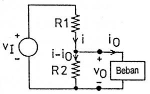 pembagi tegangan terbebani,rangkaian pembagi tegangan terbebani,rumus pembagi tegangan dengan beban,tegangan output pembagi tegangan dengan beban,perhitungan tegangan output voltage divider