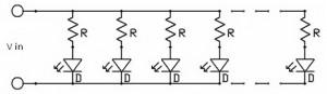 pembagi arus LED,pembatas arus LED,resistor pembagi arus LED,rangkaian pembagi arus untuk LED,contor pembagi arus DC