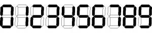 karakter display 7 segment,karakter penampil 7 ruas,karakter angka display 7 segment,betuk karakter penampil 7 ruas