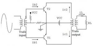 Modifikasi Amplifier Push-Pull Kelas B ke AB,solusi distorsi pada power kelas B,mengatasi cacat sinyal power kelas B,menghilangkan cacar cross over amplifier kelas B