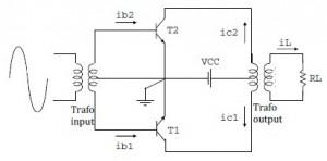 Rangkaian Amplifier Push-Pull Kelas B,rangkaian amplifier kelas B,rangkaian amplifier push pull,power amplifier push pull,power amplifier kelas B,rangkaian power amplifier kelas B pushh pull