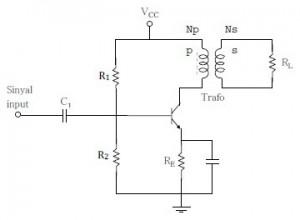 Rangkaian Dasar Amplifier OT Kelas A,rangkaian amplifier kelas A,teori amplifier kelas A,amplifier OT kelas A,rangkaian amplifier OT,efisiensi amplifier kelas A,dasar teori amplifier kelas A