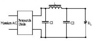 Rangkaian Power Supply Dengan Filter LC Konfigurasi Pi,tapis pi power supply,filter pi catu daya,rangkaian filter pi,rangkaian tapis pi