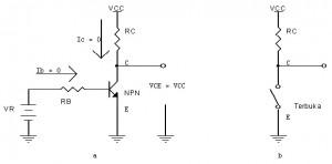 Transistor Sebagai Saklar Posisi Cut Off,sakalr transistor off,transistor mati,transistor cut-off,saklar transistor off,teori transistor sebagai saklar,teori saklar transistor,daerah mati transistor,saklar transistor off