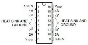 Konstruksi Pin Driver Motor DC IC L293D,driver motor DC,IC driver motor DC,IC L293D,driver motor DC L293D,pin IC L293D,teori driver motor DC L293D,pengertian driver motor DC,IC driver motor DC,fungsi IC L293D,menggunakan IC L293D,rangkaian driver motor DC,struktur motor DC,konfigurasi driver motor DC L293D