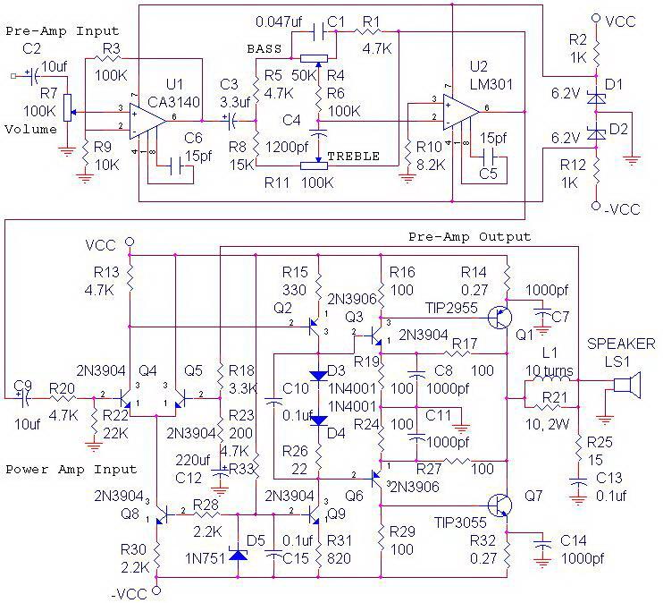 Power Amplifier OCL Tone Control,rangkaian Power Amplifier OCL Tone Control,skema Power Amplifier OCL Tone Control,power amplifier lengkap,rangkaian lengkap power amplifier ocl,power ocl lengkap,power ocl tone control,power ampli ocl + tone control