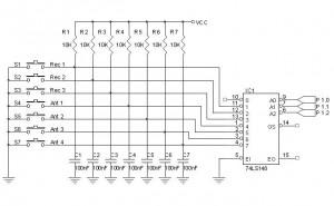 Rangkaian Keypad Dengan 8 To 3 Line Priority Encoder,Rangkaian Keypad BCD,keypad dengan encoder,rangkaian keypad dengan encoder,membuat keypad,skema keypad,teori dasar keypad,aplikasi encoder sebagai keypad,keypad dari encoder,merakit keypad dengan encoder,keypad dari encoder 74148,encoder 74148,fungsi encoder 74148,aplikasi encoder 74148,manfaat encoder 74148,skema encoder 74148,rangkaian encoder 74148,rangkaian aplikasi encoder 74148,keypad output BCD,rangkaian keypad output BCD