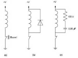 Rangkaian Proteksi Tegangan Induktif (Snubber),rangkaian proteksi induktif,proteksi induktif,teori snubber,rangkaian snubber,skema snubber,fungsi snubber,membuat snubber,membuat protektor induktor,tegangan induktif,arus induktif,fungsi dioda pad beban induktor,efek tegangan induktif,menghindari tegangan induktif