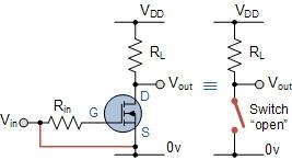 Gambar Rangkaian MOSFET Sebagai Saklar Pada Kondisi Cut-Off,Rangkaian MOSFET Sebagai Saklar Pada Kondisi Cut-Off,MOSFET sebagai skalar posisi OFF,syarat MOSFET sebagai skalar posisi OFF,karakteristik MOSFET sebagai skalar posisi OFF,menggunakan MOSFET sebagai skalar posisi OFF,membuat MOSFET sebagai skalar posisi OFF,saklar MOSFET,Saklar MOSFET tertutup,saklar MOSFET OFF,syarat MOSFET OFF