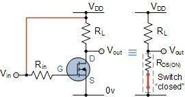 Gambar Rangkaian MOSFET Sebagai Saklar Pada Kondisi Saturasi,Rangkaian MOSFET Sebagai Saklar Pada Kondisi Saturasi,membuat skalar MOSFET ON,syarat saklar MOSFET ON,karakteristik saklar MOSFET ON,analogi saklar MOSFET ON,daerah kerja skalr MOSFET ON,saklar MOSFTE Saturasi,Saklar MOSFET cut OFF,saklar MOSFET fully-ON,saklar MOSFET fully-Off