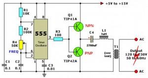 Rangkaian Inverter Sederhana IC NE555,contoh rangkaian inverter,inverter sederhana,rangkaian inverter sederhana,skema invereter sederhana,rangkaian inverter 555,gambar rangkaian inverter,rangkaian inverter dc ke ac,rangkaian dc to ac inverter,dc to ac inverter 555