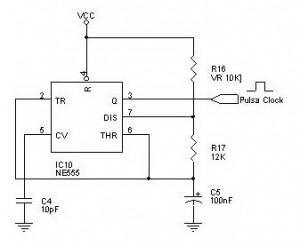 Rangkaian Pembangkit Pulsa Clock IC NE555