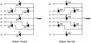 Gambar Konstruksi Internal Peraga/Penampil 7 Segmen,struktur LED 7 segmen,rangkaian LED 7 segmen,rangkaian internal Gambar Konstruksi Internal Peraga/Penampil 7 Segmen