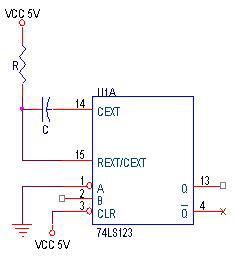 Rangkaian Dasar Monostable Multivibrator IC74LS123,Rangkaian Monostable Multivibrator 74LS123,Rangkaian IC74LS123,Monostable Multivibrator IC74LS123