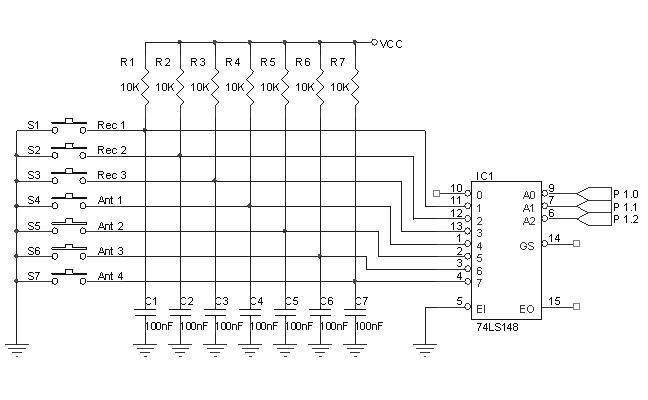 Keypad Dengan 8 To 3 Line Priority Encoder 74148