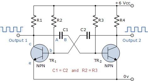 Flip Flop 2 Transistor (Astabil Multivibrator)